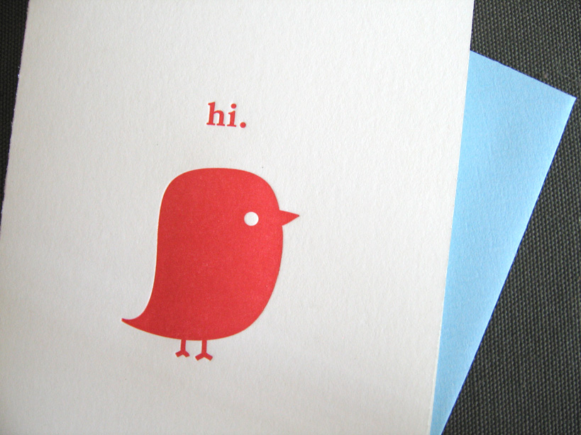 Hi bird letterpress card