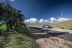Upolo Airport just ahead (Tom Blankenship Photography) Tags: upoloairport hi hawaii bigisland altima tomblankenship photography photographer nissan silver generators wind windmills electric