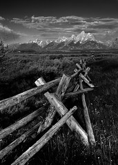 cunningham's fence ([Adam Baker]) Tags: park morning summer bw white black mountains clouds canon fence landscape cabin grand august monotone junction national cunningham prairie portfolio teton moran jacksonhole photomatix gtnp 24105l adambaker buckrail vertorama 5dmarkii
