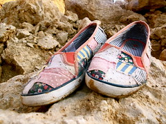 Patchwork Shoes (Kara Allyson) Tags: shoe shoes rocks quarry patchworkshoes