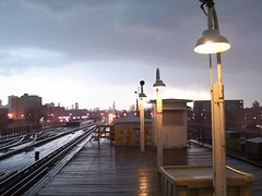 Clouds & Wilson (Mr. Montrose) Tags: sky usa chicago storm colors rain station clouds train lights cta broadway platform tracks uptown wilson l wilsonyard