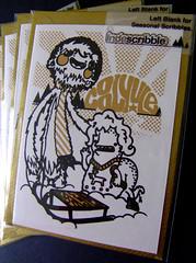 COOL YULE -Yeti and Salamander (Indescribble) Tags: christmas winter snow black gold handmade salamander gocco card printing yule sunburst characters yeti sledge serigraphie handprinted indescribble