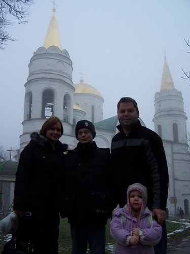 Edna, Dominic, Conor, and Emma in Chernihiv