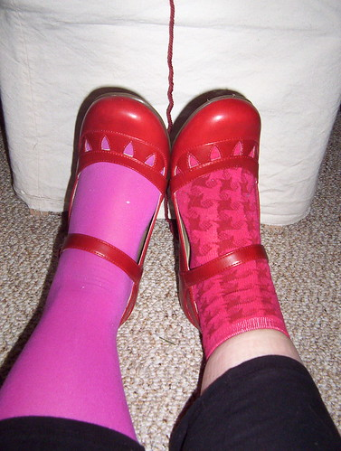 pink socks, new shoes