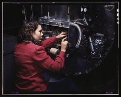 Switch boxes on the firewalls of B-25 bombers are assembled by women workers at North American [Aviation, Inc.]'s Inglewood, Calif., plant  (LOC) (The Library of Congress) Tags: california red woman usa america work vintage us october war rosietheriveter aircraft aviation military unitedstatesofamerica wwii slidefilm worldwarii 1940s transparency ww2 4x5 lf worker libraryofcongress 1942 mitchell bomber laborer mechanic largeformat firewall homefront worldwar2 inglewood wartime electrician transparencies switchbox b25 womenatwork inglewoodca northamericanaviation b25bomber xmlns:dc=httppurlorgdcelements11 october1942 dc:identifier=httphdllocgovlocpnpfsac1a35311 alfredtpalmer taken:by=alfredtpalmer alfredpalmer