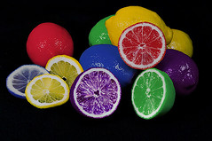 Rainbow Lemons (Cooriander) Tags: colors fruit lemons multicolored sour onblack 105mmf28gvrmicro alittlefun alemonadaywillkeepthedoctoraway