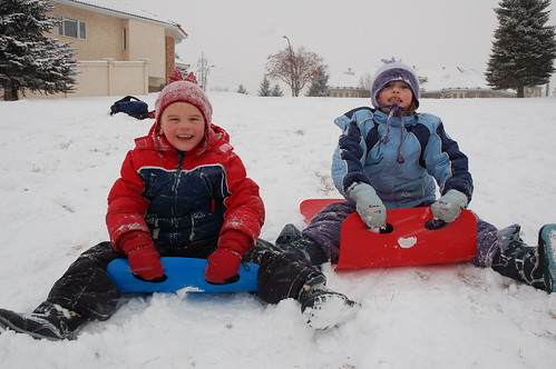 Grace and Matt Sledding