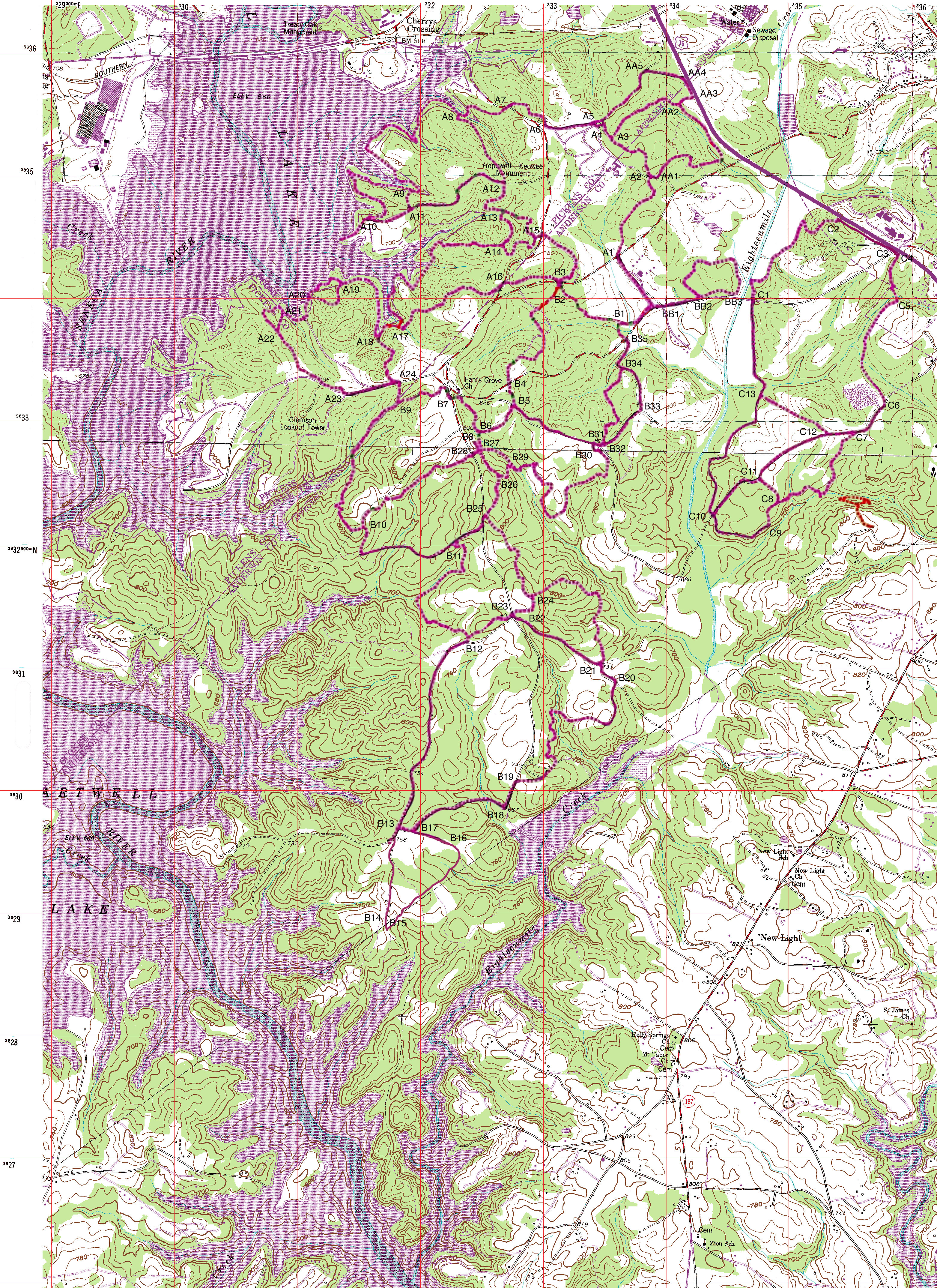 Local Trails Upstate SORBA - Map of usc columbia