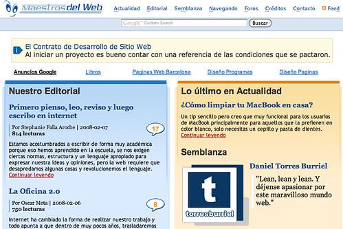 Captura de pantalla de la sección Semblanza, de Maestros del Web