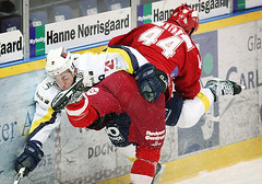 Nathan Lutz crushes Blaine Down (brianpoulsen) Tags: blue ice sports hockey canon denmark eos check hit boards nathan action herning body icehockey down bulls 1d markiin fox hip crush mighty blaine eos1d lutz markii rodovre