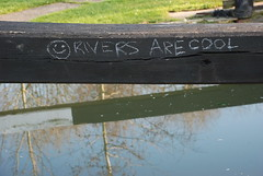 DSC_0939 - :-) Rivers Are Cool (Anyhoo) Tags: uk england white black reflection water writing handwriting river canal wooden chalk cool message lock timber knot surrey crack beam smiley rivers lettering split slogan handwritten godalming towpath wey smileyface riverwey anyhoo lammaslands catteshalllock riversarecool photobyanyhoo