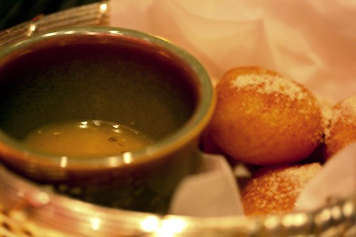 Another view of the donuts and its dipping sauce