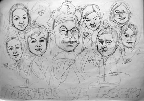 Caricatures DBM King & Queen pencil sketch