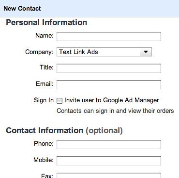Google Ad Manager Add Order Add Contacts