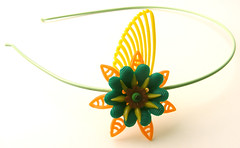 Orange, Yellow and Green Vintage Flowers Headband