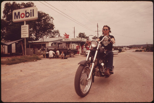 Motorcyclist in Leakey, Texas, near San Antonio, 05/1973