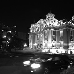 T-Junction (yoshiko314) Tags: blackandwhite bw night square taxi osaka auditorium nakanoshima