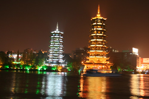 Two pagodas in Guilin, China.