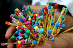 handful of colour (Claire Tamara Davies) Tags: colour art painting holding hands lesson dots techniques cottonbuds artroom pointillism ethnicart