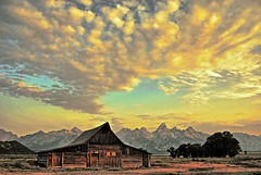 Morning Glow at the Barn (Jeff Clow) Tags: morning bravo wideangle wyoming jpeg sigma1020mm mormonrow pseudohdr 1exp moultonbarn mywinners nikond80 wowiekazowie diamondclassphotographer dynamicphotohdrsoftware