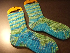 Green/Blue/Tweed ribbed socks