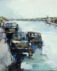 """""""Saint Jean de Losne"""" (Peintures de Gilles Cotelle) Tags: bateau pniche sane saintjeandelosne"""