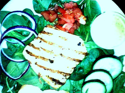 Grilled Salmon Spinach Salad with Cucumber
