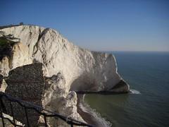 Chalk cliffs and hidden beach at the Needles
