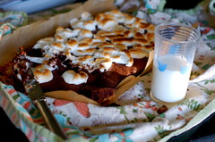 s'mores brownies. (thebakingbird) Tags: baking towel marshmallows smores brownies broiling glassofmilk grahamcrackercrust smoresbrownies