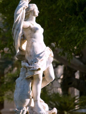 naked breast statue