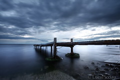 Lost in drama (LucaPicciau) Tags: sky seascape cold wet water misty night clouds canon landscape lost evening coast pond long mare quiet nuvola cloudy walk secret foggy cielo ethereal horror serene nothing void drama acqua molo placid damp sera endless ruggine ferro passerella nuvoloso vuoto tenebre niente novole mistico picciau lucapicciau notteperspective