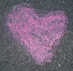 Pink chalk heart