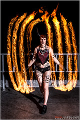 Lady Viper : Fire shoot pt 2 (Digital-Mechanic.com) Tags: yellow lady viper fire shoot pt 2 light painting long exposure photography staff fans rooftop body burning spinning