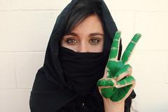 Peace (Nichole Bowen Photography) Tags: green beautiful eyes pretty peace hand iran katie oppression iranian elections protests burkah greenrevolution twitter twitterrevolution middleeasthawaiinikond3000