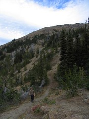 Trail at Marmot Pass. Boot path ascends slopes in center to ridgeline.