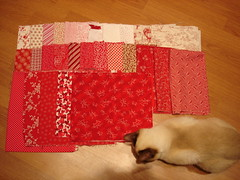 In preparation for a red quilt