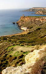 Ghajn Tuffieha, Malta (archidave) Tags: cliff tower beach rock landscape island bay coast countryside sand view country watch guard rocky sunny malta vista coastline rugged scenicsnotjustlandscapes