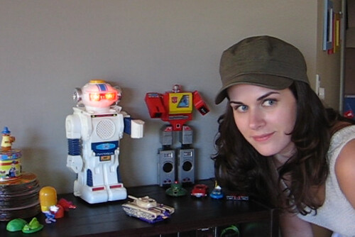 Lisa with transformers and robot