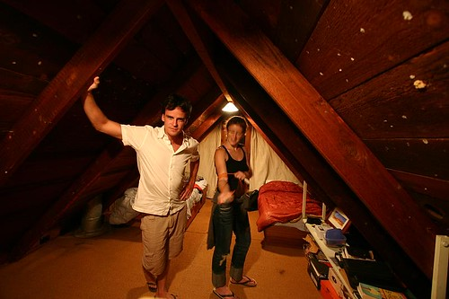 Rhod and Cath in the rammed mud brick house...