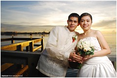Philip & Dalla - Sunset at the Pier (Ryan Macalandag) Tags: dahlia wedding people church groom bride bohol protrait philip tagbilaran matrimony nikond80 ryanmacalandag