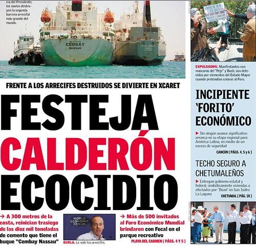 barco de cemex destruye arrecifes mientras fecal festeja