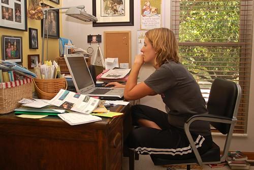 Marla at her desk