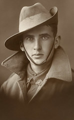 Unidentified soldier of the First AIF (Australian War Memorial collection) Tags: portrait man black look hat sepia kept dead soldier this photo back eyes memorial war uniform coat blueeyes wwi australian young handsome pins it impact unknown warrior remembranceday patriot coming gaze soulful has crawford such digger bravery soldado anzac worldwar1 armisticeday australasia chapu  chinstrap futilityofwar australianwarmemorial leatherhat lapels thegreatwar freakinghot slouchhat i australianewzealandarmycorps 031211 commons:event=commonground2009 australiandigger risingsunbadge 53864views ithinktheawmshouldremovemanyofthesenotes thechancesofhimsurvivingthe1stworldwarareminimal