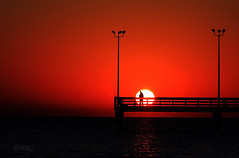 Pescando al sol (Eduardo Muriedas) Tags: red sea sky usa sun black reflection sol water silhouette sunrise canon contraluz eos pier muelle mar dock rojo agua texas negro explore amanecer cielo aurora reflejo fisher rays silueta sunrays frontpage backlighting pescador rayos rayosdesol gulfofmxico alborada salidadelsol drsena 40d mywinners golfodemxico atracadero canoneos40d eduardomuriedas