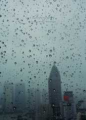 Vanishing Skyline. (ShanLuPhoto) Tags: china city blue window rain hotel downtown shanghai raindrops   westin loolooimage