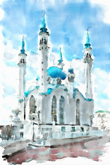 Qolsharif Mosque (piker77) Tags: city urban painterly art architecture digital photoshop watercolor painting interesting media natural russia aquarelle islam digitale religion manipulation simulation mosque peinture illusion virtual watercolour ottoman transparent acuarela tablet technique wacom stylized pintura imitation kazan  aquarela camii aquarell emulation malerei pittura virtuale virtuel osmanl naturalmedia qolsharif   qolrif ottomanstyle  piker77wc arthystorybrush
