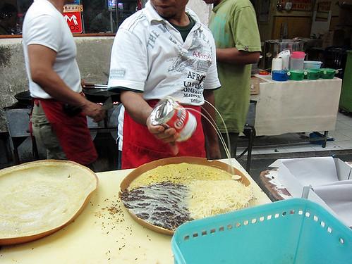 The making of Martabak Manis (Sweet Indonesian Pancake)