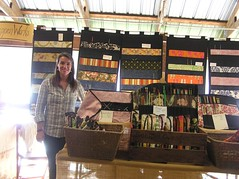 A friend of a friend, Kathy, in her booth, Crippenworks.