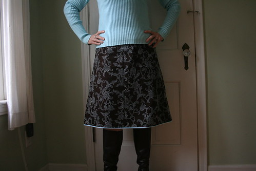 brown and blue A-line skirt