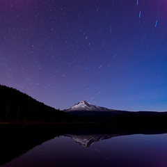 Mt. Hood with a few stars... (Jesse Estes) Tags: oregon mounthood trilliumlake unature